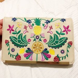 Neiman Marcus Floral Embroidered Crossbody Bag